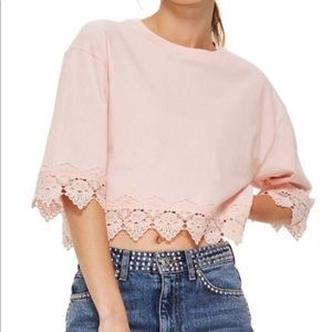 Topshop Boxy Crop Top With Lace Trim NWT